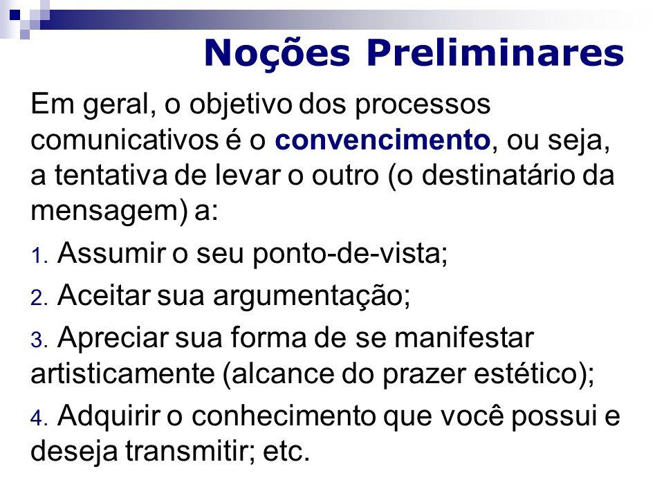 Noções Preliminares Em geral, o objetivo dos processos comunicativos é o convencimento, ou seja, a tentativa de levar o outro (o destinatário da mensagem) a: 1.