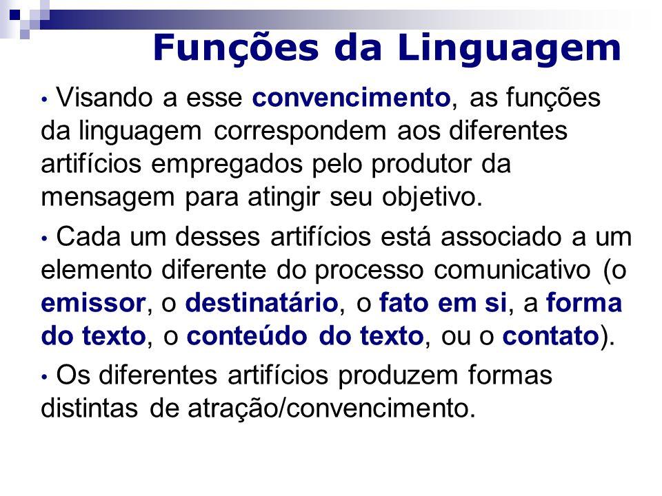 Funções da Linguagem Visando a esse convencimento, as funções da linguagem correspondem aos diferentes artifícios empregados pelo produtor da mensagem para atingir seu objetivo.