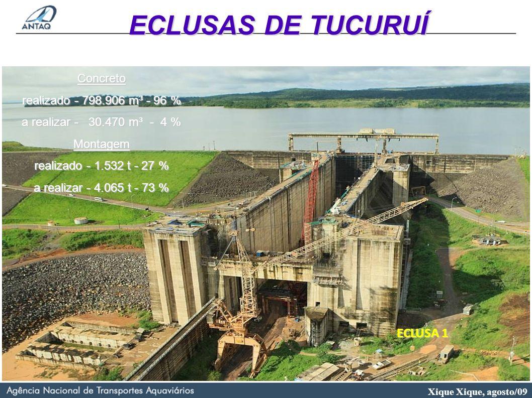 Xique Xique, agosto/09 ECLUSA 1 Concreto realizado - 798.906 m³ - 96 % a realizar - 30.470 m³ - 4 % Montagem realizado - 1.532 t - 27 % a realizar - 4