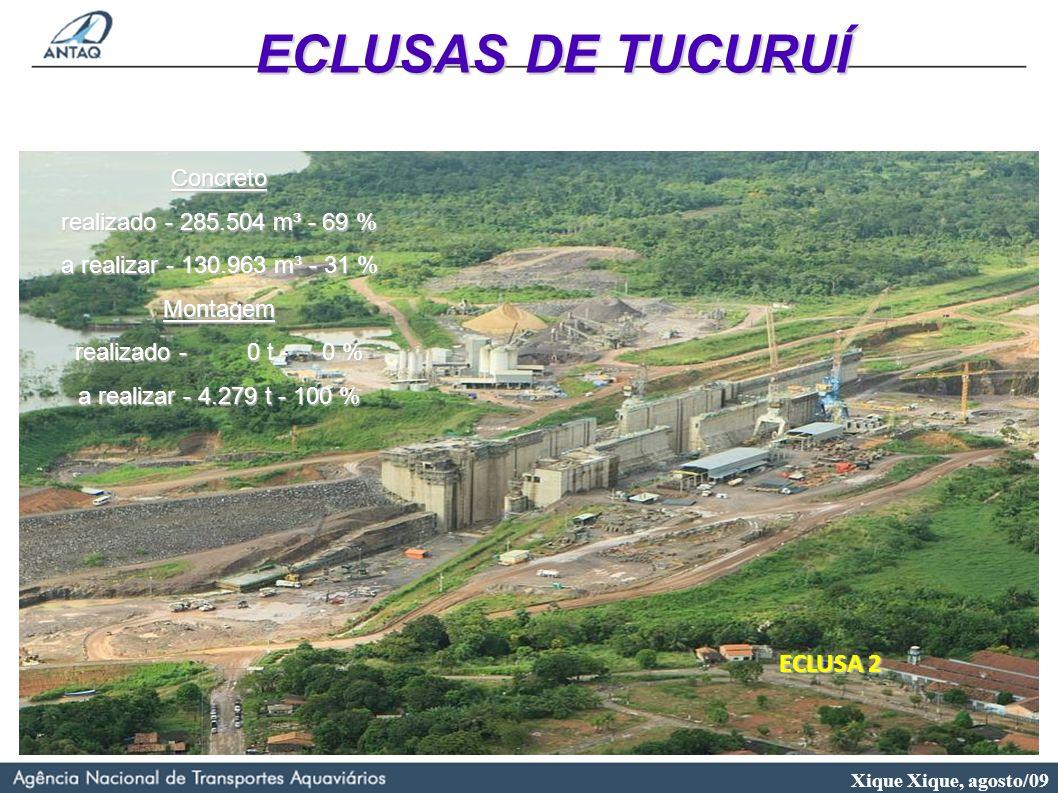 Xique Xique, agosto/09 ECLUSA 2 Concreto realizado - 285.504 m³ - 69 % a realizar - 130.963 m³ - 31 % Montagem realizado - 0 t - 0 % a realizar - 4.27