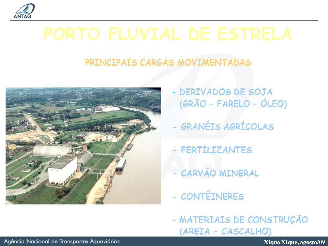 Xique Xique, agosto/09 PORTO FLUVIAL DE ESTRELA PRINCIPAIS CARGAS MOVIMENTADAS - DERIVADOS DE SOJA (GRÃO – FARELO – ÓLEO) - GRANÉIS AGRÍCOLAS - FERTIL
