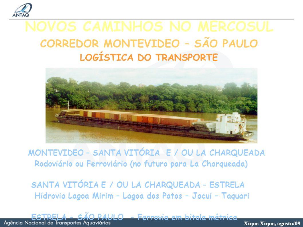 Xique Xique, agosto/09 NOVOS CAMINHOS NO MERCOSUL CORREDOR MONTEVIDEO – SÃO PAULO LOGÍSTICA DO TRANSPORTE MONTEVIDEO – SANTA VITÓRIA E / OU LA CHARQUE