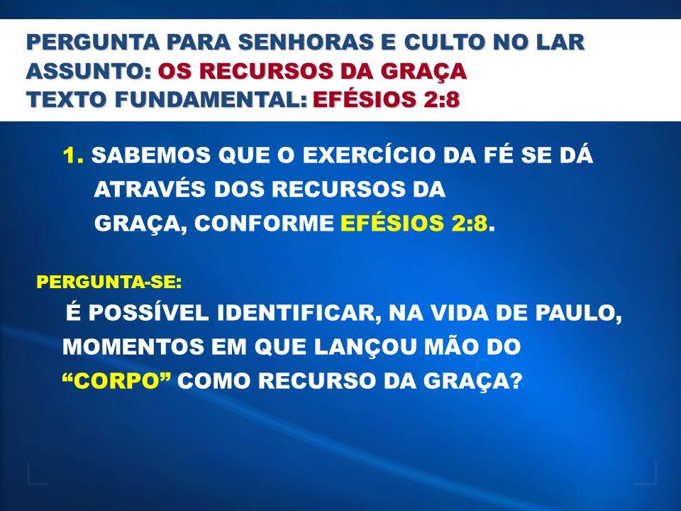 PERGUNTA PARA JOVENS E OBREIROS ASSUNTO: OS RECURSOS DA GRAÇA TEXTO FUNDAMENTAL: EFÉSIOS 2:8 1.