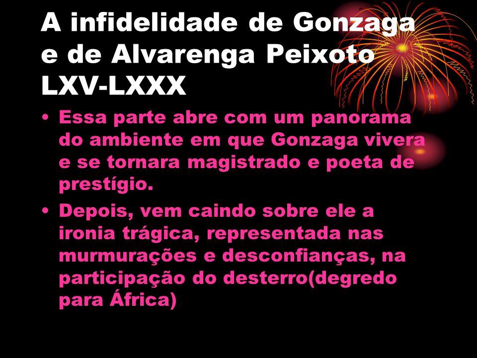 A infidelidade de Gonzaga e de Alvarenga Peixoto LXV-LXXX Essa parte abre com um panorama do ambiente em que Gonzaga vivera e se tornara magistrado e