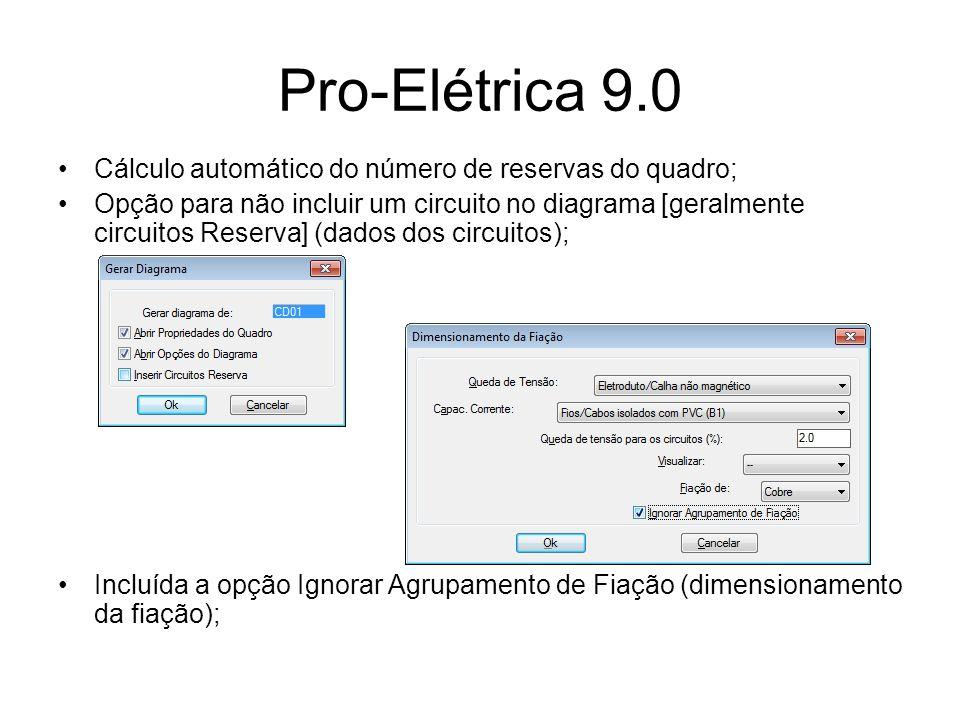 Pro-Elétrica 9.0 Cálculo automático do número de reservas do quadro; Opção para não incluir um circuito no diagrama [geralmente circuitos Reserva] (da