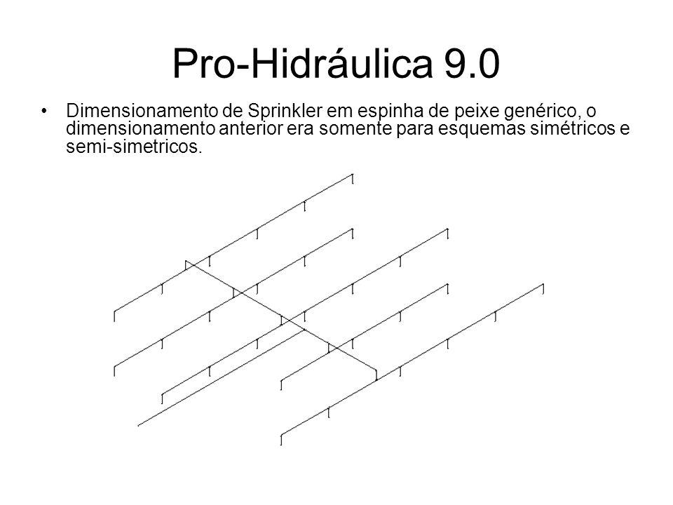 Pro-Hidráulica 9.0 Dimensionamento de Sprinkler em espinha de peixe genérico, o dimensionamento anterior era somente para esquemas simétricos e semi-s