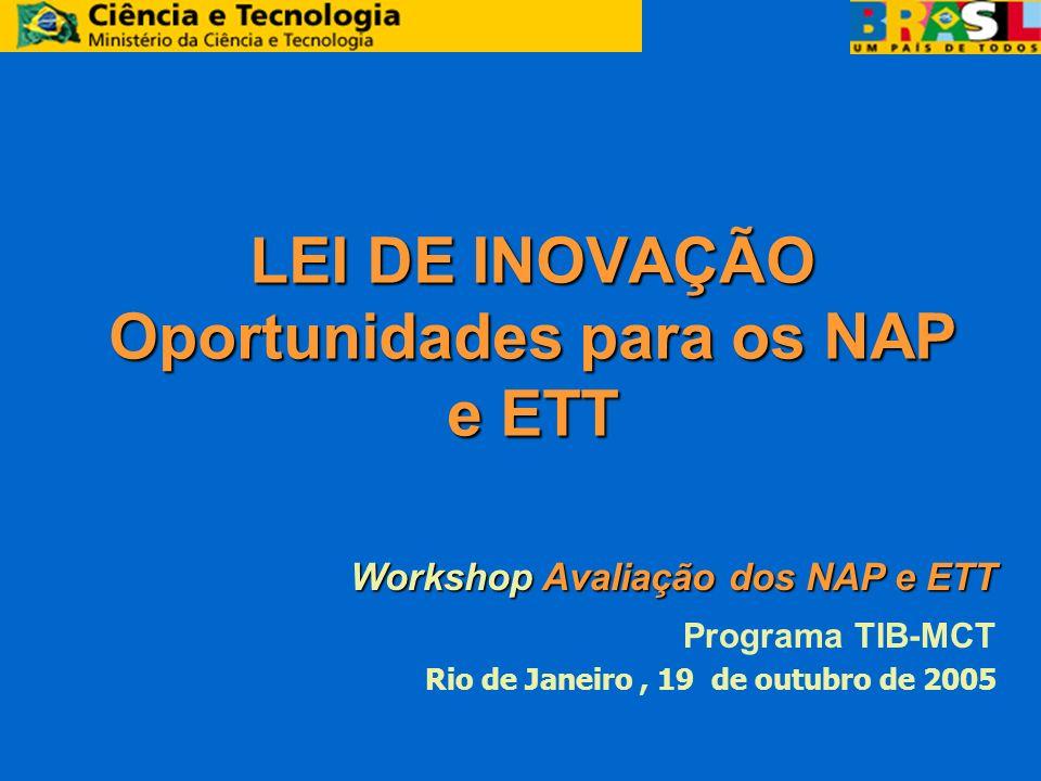 LEI DE INOVAÇÃO Oportunidades para os NAP e ETT Workshop Avaliação dos NAP e ETT Workshop Avaliação dos NAP e ETT Programa TIB-MCT Rio de Janeiro, 19 de outubro de 2005
