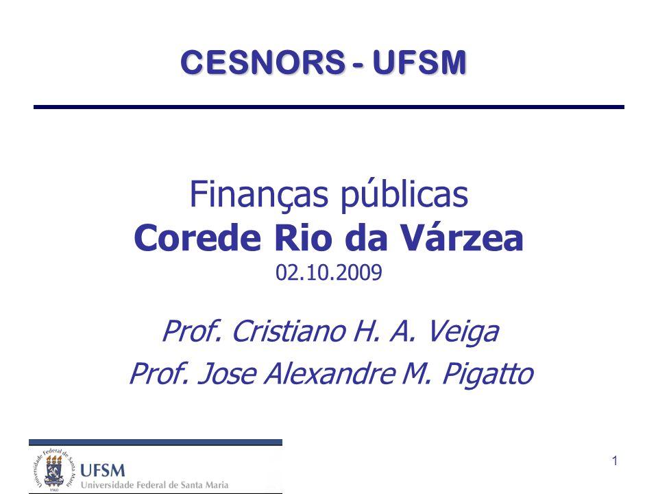1 Finanças públicas Corede Rio da Várzea 02.10.2009 Prof.