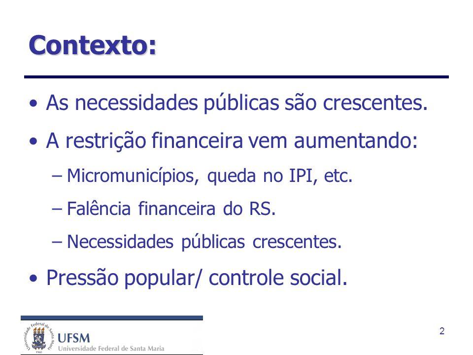 2 Contexto: As necessidades públicas são crescentes.