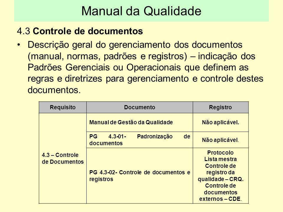 4.3 Controle de documentos Descrição geral do gerenciamento dos documentos (manual, normas, padrões e registros) – indicação dos Padrões Gerenciais ou