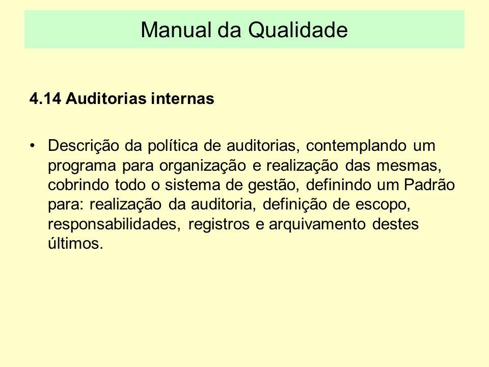 4.14 Auditorias internas Descrição da política de auditorias, contemplando um programa para organização e realização das mesmas, cobrindo todo o siste