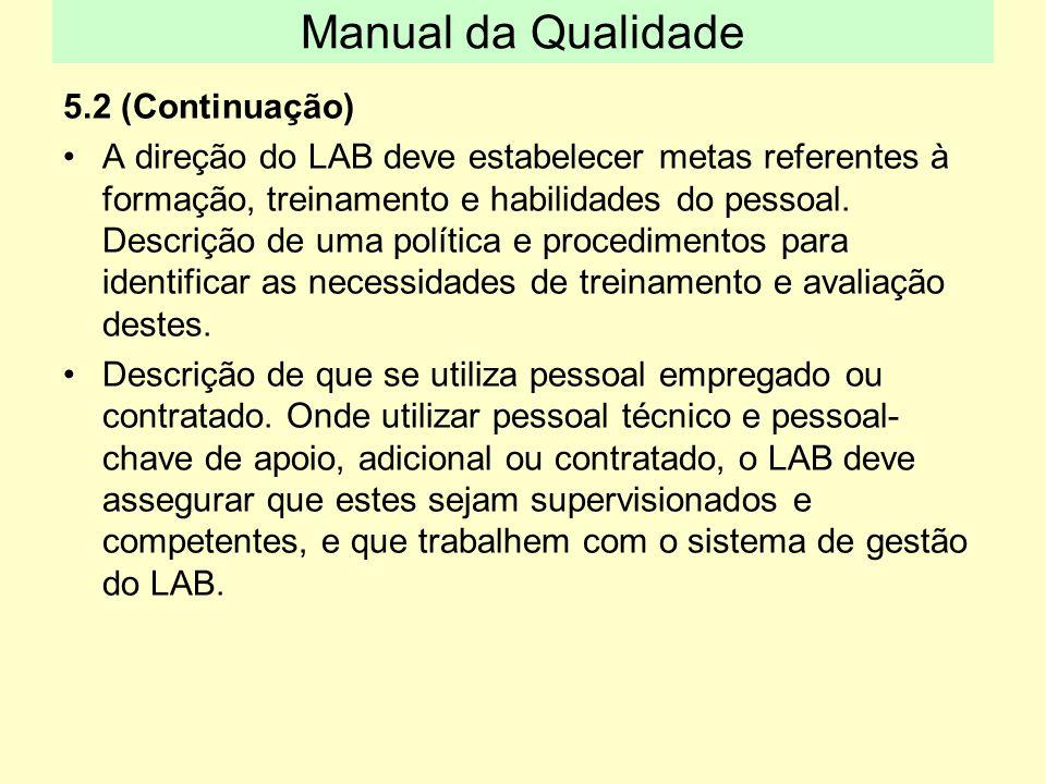 5.2 (Continuação) A direção do LAB deve estabelecer metas referentes à formação, treinamento e habilidades do pessoal. Descrição de uma política e pro