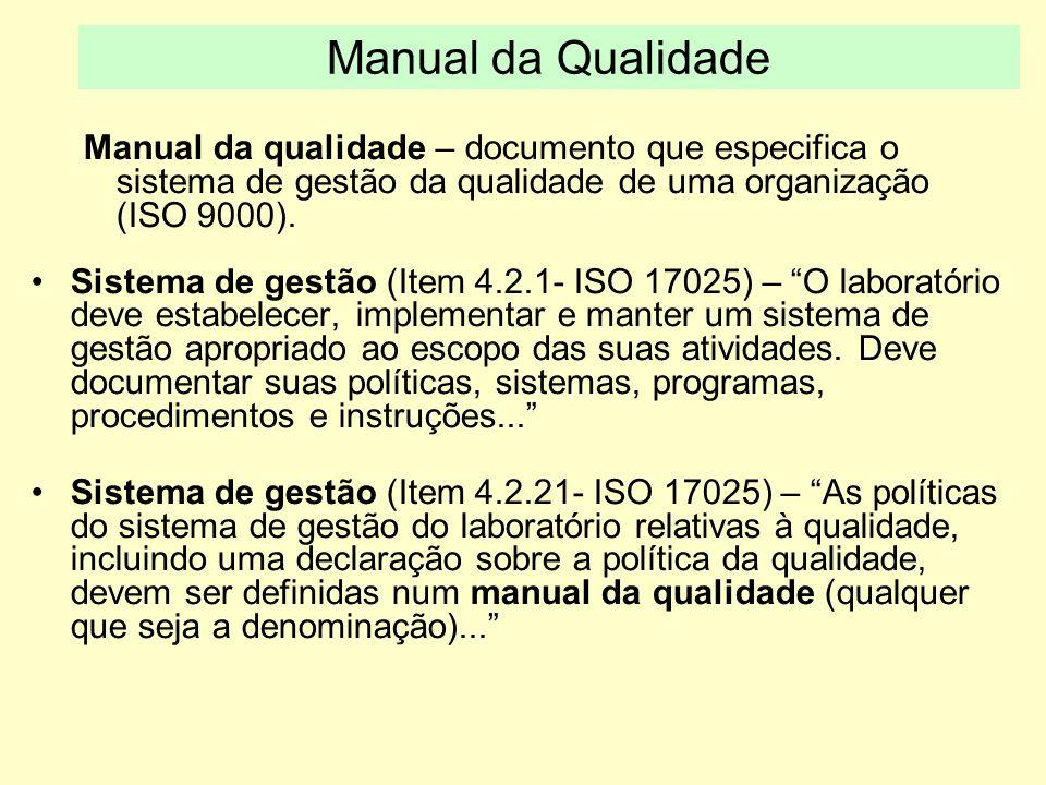 Manual da qualidade – documento que especifica o sistema de gestão da qualidade de uma organização (ISO 9000). Sistema de gestão (Item 4.2.1- ISO 1702