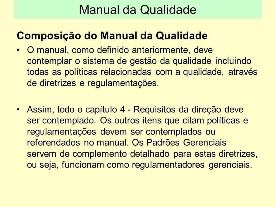 Composição do Manual da Qualidade O manual, como definido anteriormente, deve contemplar o sistema de gestão da qualidade incluindo todas as políticas