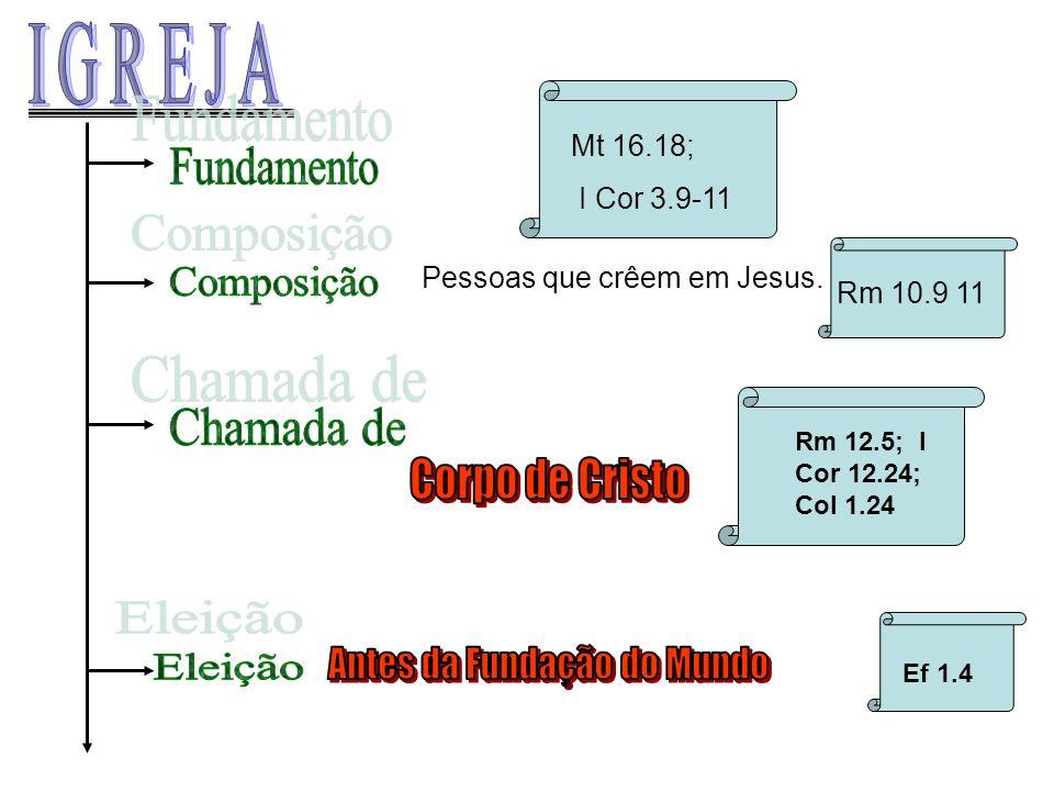 Pessoas que crêem em Jesus. Rm 12.5; I Cor 12.24; Col 1.24 Ef 1.4 Mt 16.18; I Cor 3.9-11 Rm 10.9 11