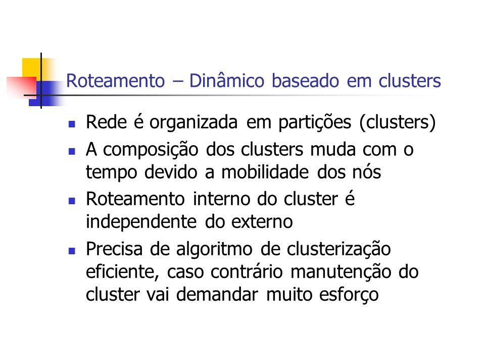Roteamento – Dinâmico baseado em clusters Rede é organizada em partições (clusters) A composição dos clusters muda com o tempo devido a mobilidade dos