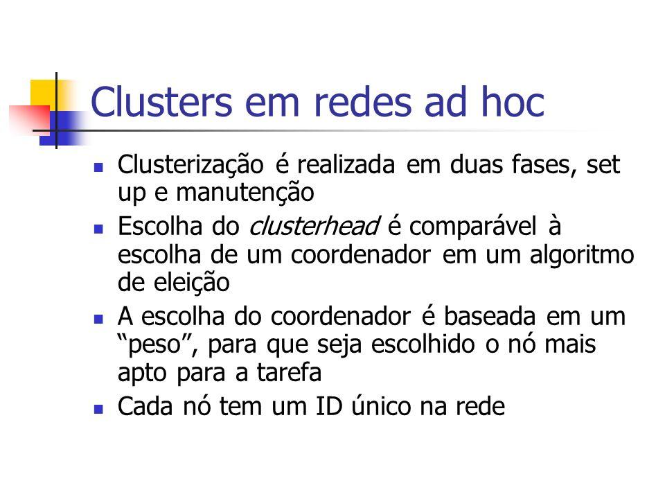Clusters em redes ad hoc Clusterização é realizada em duas fases, set up e manutenção Escolha do clusterhead é comparável à escolha de um coordenador