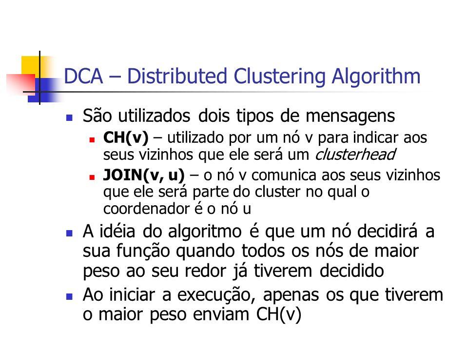 DCA – Distributed Clustering Algorithm São utilizados dois tipos de mensagens CH(v) – utilizado por um nó v para indicar aos seus vizinhos que ele ser