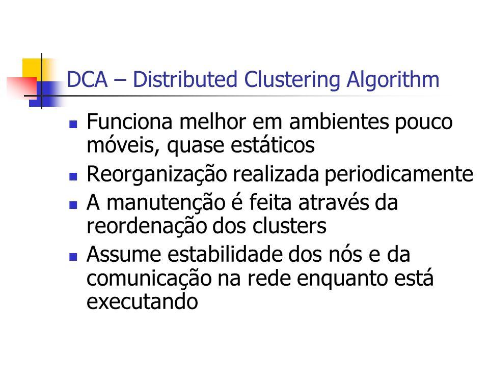 DCA – Distributed Clustering Algorithm Funciona melhor em ambientes pouco móveis, quase estáticos Reorganização realizada periodicamente A manutenção
