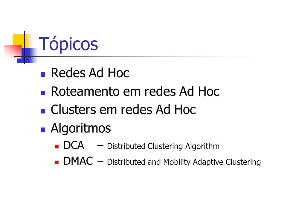 Tópicos Redes Ad Hoc Roteamento em redes Ad Hoc Clusters em redes Ad Hoc Algoritmos DCA– Distributed Clustering Algorithm DMAC– Distributed and Mobili