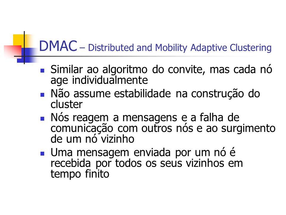 DMAC – Distributed and Mobility Adaptive Clustering Similar ao algoritmo do convite, mas cada nó age individualmente Não assume estabilidade na constr