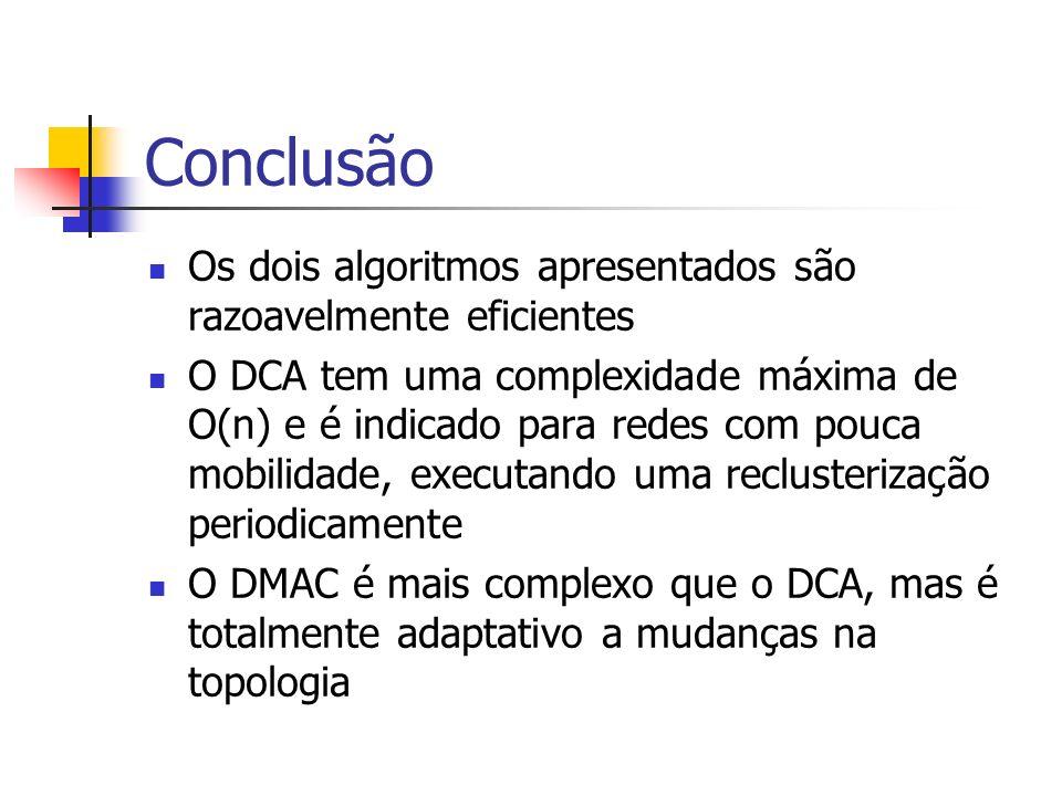 Conclusão Os dois algoritmos apresentados são razoavelmente eficientes O DCA tem uma complexidade máxima de O(n) e é indicado para redes com pouca mob