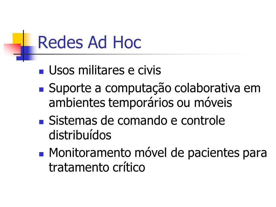 Redes Ad Hoc Usos militares e civis Suporte a computação colaborativa em ambientes temporários ou móveis Sistemas de comando e controle distribuídos M