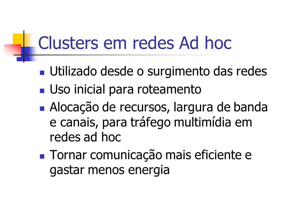 Clusters em redes Ad hoc Utilizado desde o surgimento das redes Uso inicial para roteamento Alocação de recursos, largura de banda e canais, para tráf
