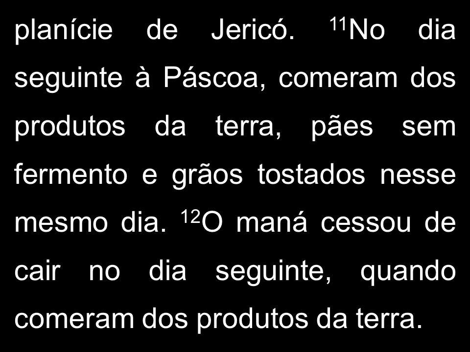 planície de Jericó. 11 No dia seguinte à Páscoa, comeram dos produtos da terra, pães sem fermento e grãos tostados nesse mesmo dia. 12 O maná cessou d