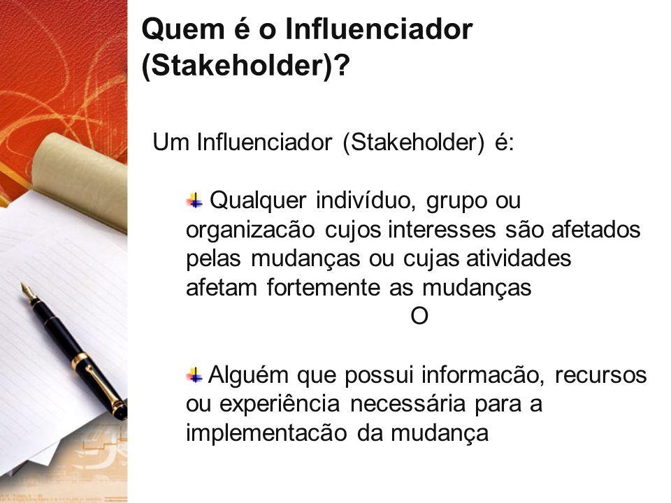 Quem é o Influenciador (Stakeholder)? Um Influenciador (Stakeholder) é: Qualquer indivíduo, grupo ou organizacão cujos interesses são afetados pelas m