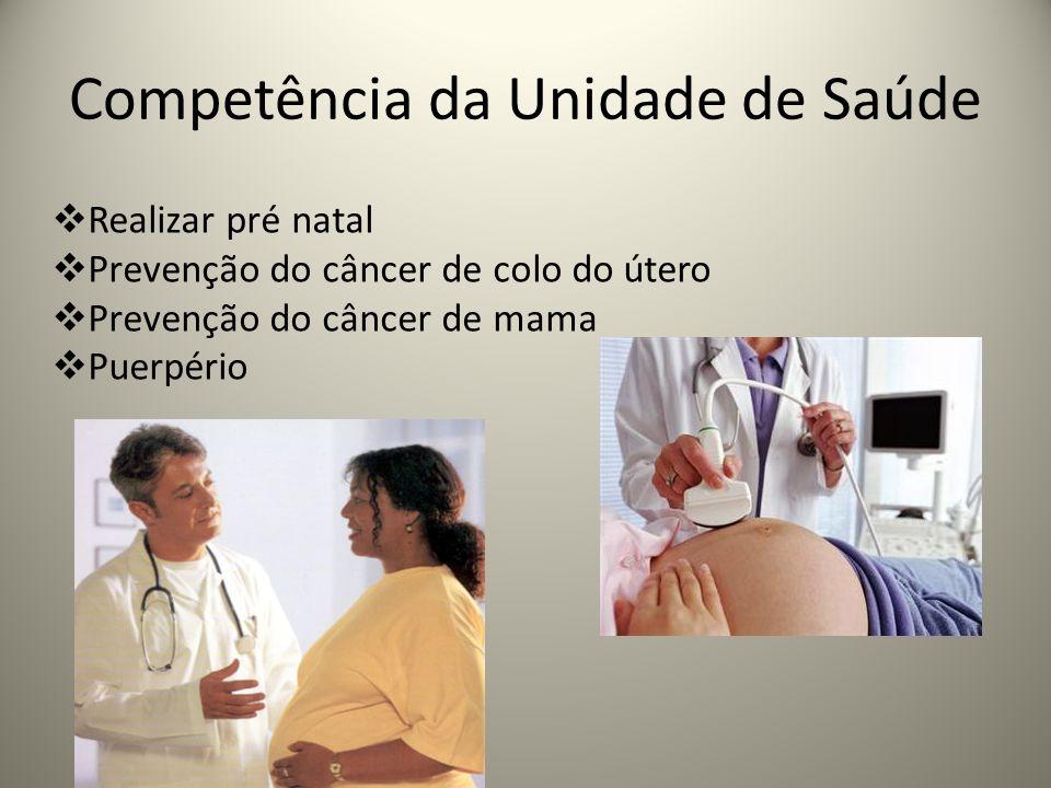 Competência da Unidade de Saúde Realizar pré natal Prevenção do câncer de colo do útero Prevenção do câncer de mama Puerpério