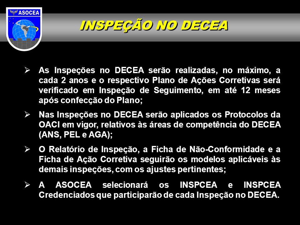 Nas Inspeções no DECEA serão aplicados os Protocolos da OACI em vigor, relativos às áreas de competência do DECEA (ANS, PEL e AGA); O Relatório de Ins