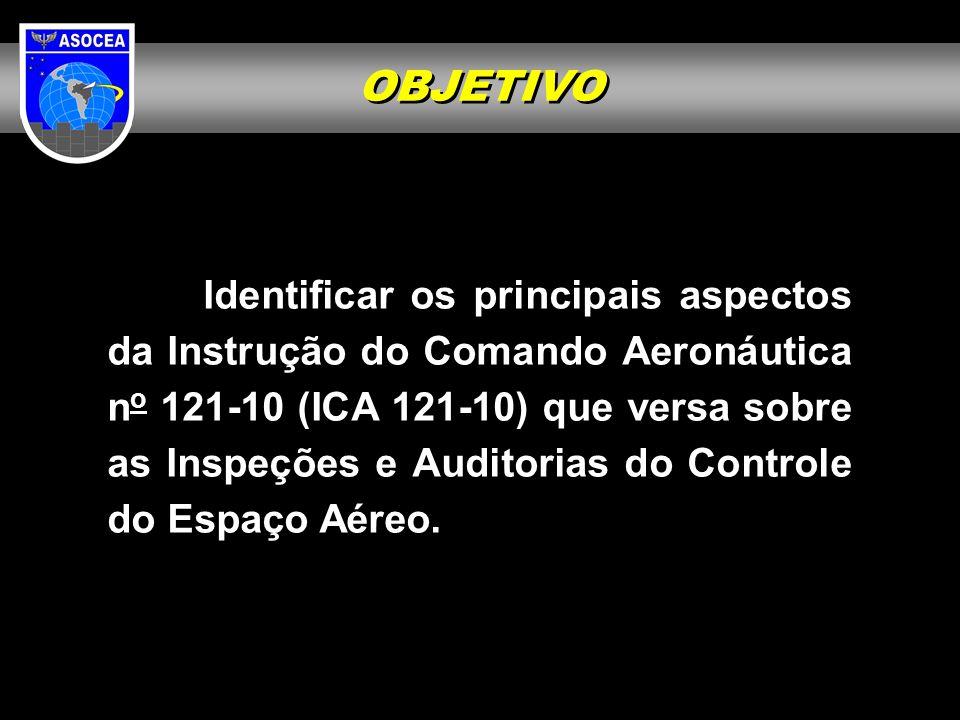 Identificar os principais aspectos da Instrução do Comando Aeronáutica n o 121-10 (ICA 121-10) que versa sobre as Inspeções e Auditorias do Controle d