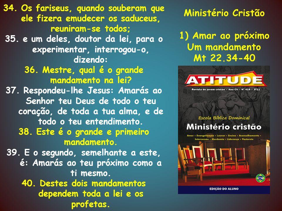 Ministério Cristão 2) O valor da amizade Jo 15.12-14 12.