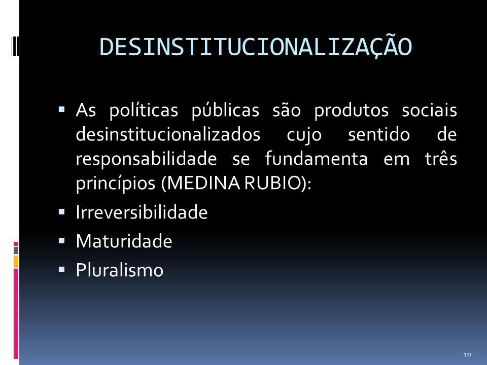 DESINSTITUCIONALIZAÇÃO As políticas públicas são produtos sociais desinstitucionalizados cujo sentido de responsabilidade se fundamenta em três princí