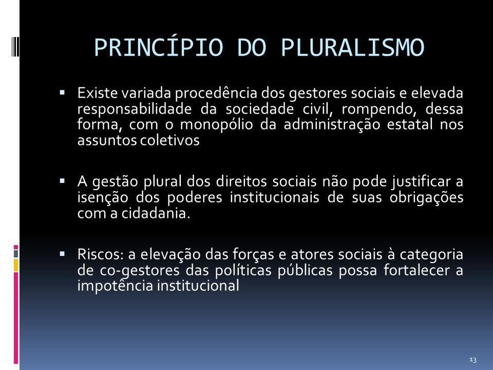 PRINCÍPIO DO PLURALISMO Existe variada procedência dos gestores sociais e elevada responsabilidade da sociedade civil, rompendo, dessa forma, com o mo