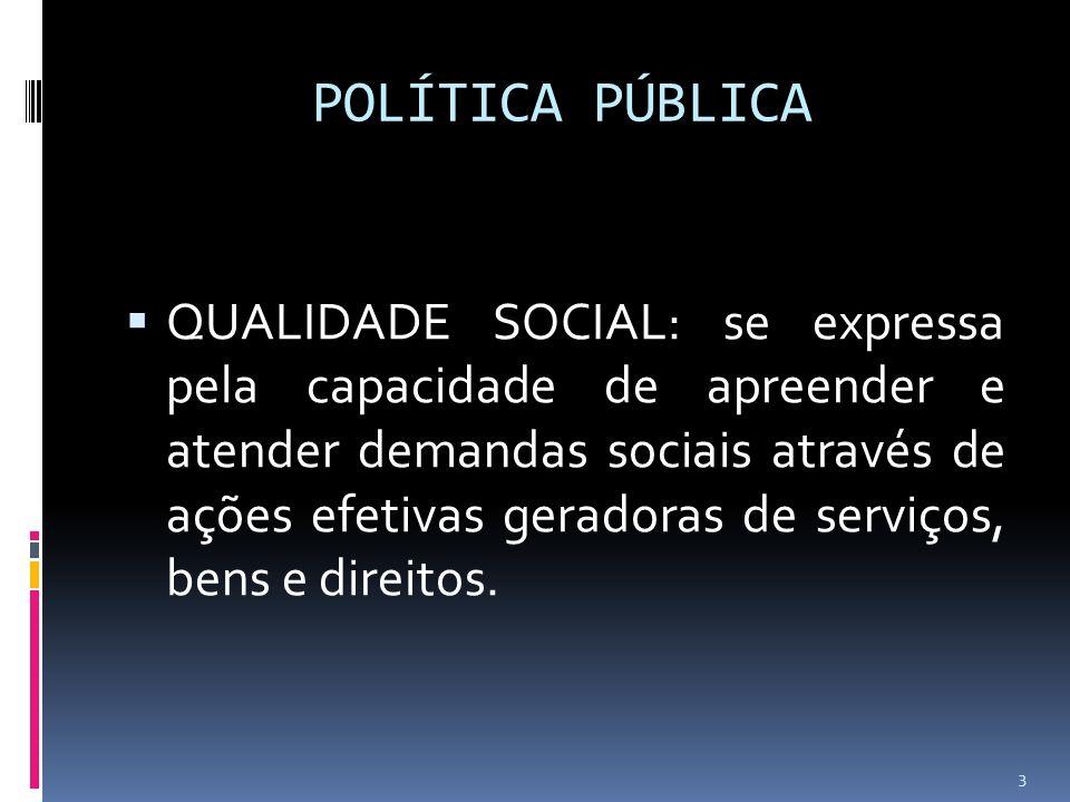 POLÍTICA PÚBLICA QUALIDADE SOCIAL: se expressa pela capacidade de apreender e atender demandas sociais através de ações efetivas geradoras de serviços