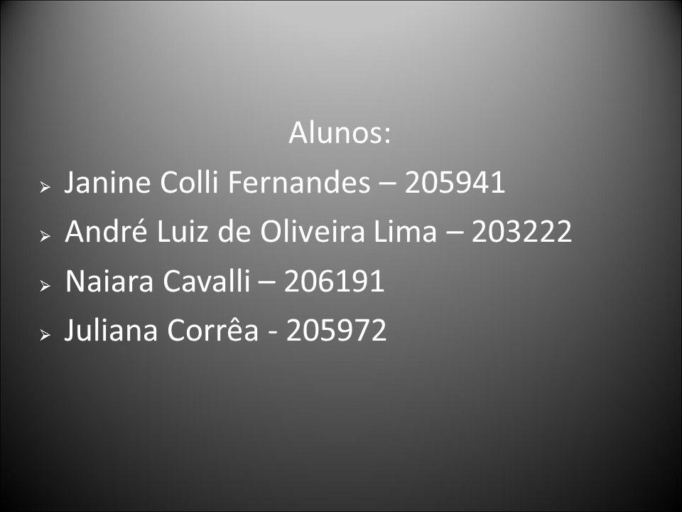 Alunos: Janine Colli Fernandes – 205941 André Luiz de Oliveira Lima – 203222 Naiara Cavalli – 206191 Juliana Corrêa - 205972