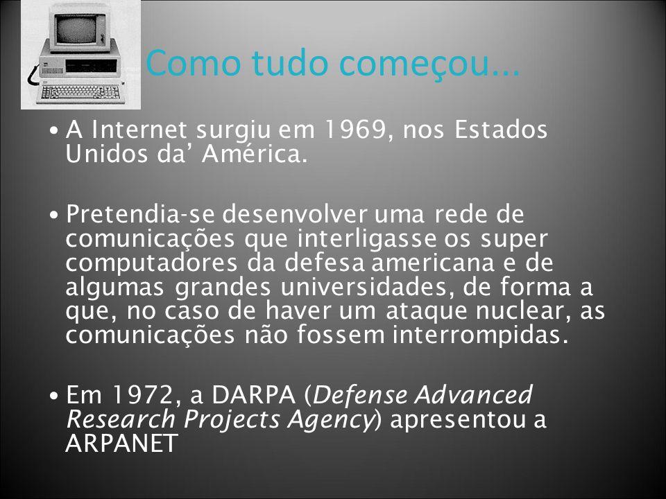Como tudo começou... A Internet surgiu em 1969, nos Estados Unidos da América. Pretendia-se desenvolver uma rede de comunicações que interligasse os s