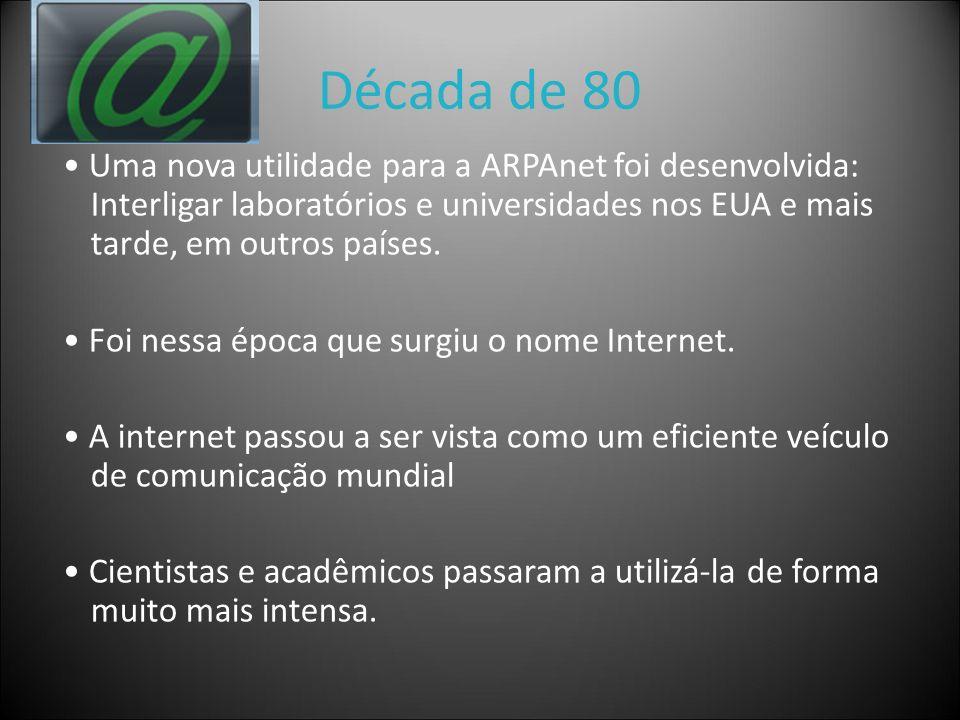 Década de 80 Uma nova utilidade para a ARPAnet foi desenvolvida: Interligar laboratórios e universidades nos EUA e mais tarde, em outros países. Foi n