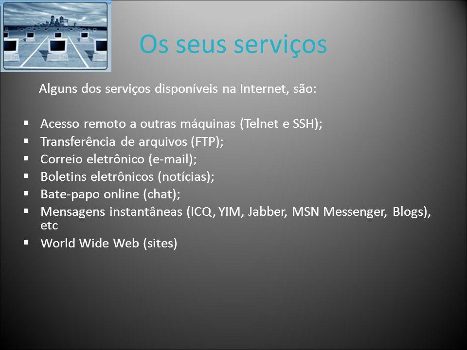 Os seus serviços Alguns dos serviços disponíveis na Internet, são: Acesso remoto a outras máquinas (Telnet e SSH); Transferência de arquivos (FTP); Co