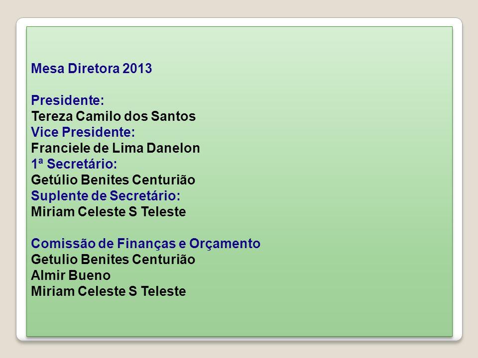 Mesa Diretora 2013 Presidente: Tereza Camilo dos Santos Vice Presidente: Franciele de Lima Danelon 1ª Secretário: Getúlio Benites Centurião Suplente d