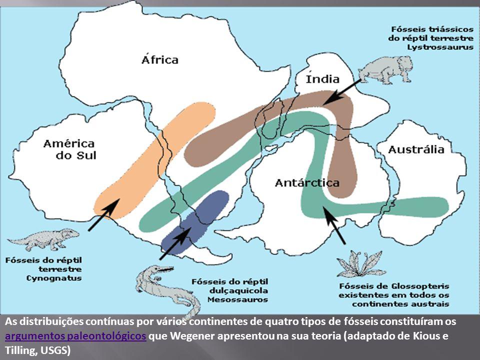 As distribuições contínuas por vários continentes de quatro tipos de fósseis constituíram os argumentos paleontológicos que Wegener apresentou na sua