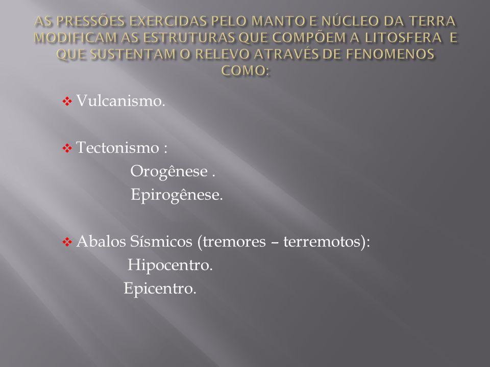 Vulcanismo. Tectonismo : Orogênese. Epirogênese. Abalos Sísmicos (tremores – terremotos): Hipocentro. Epicentro.
