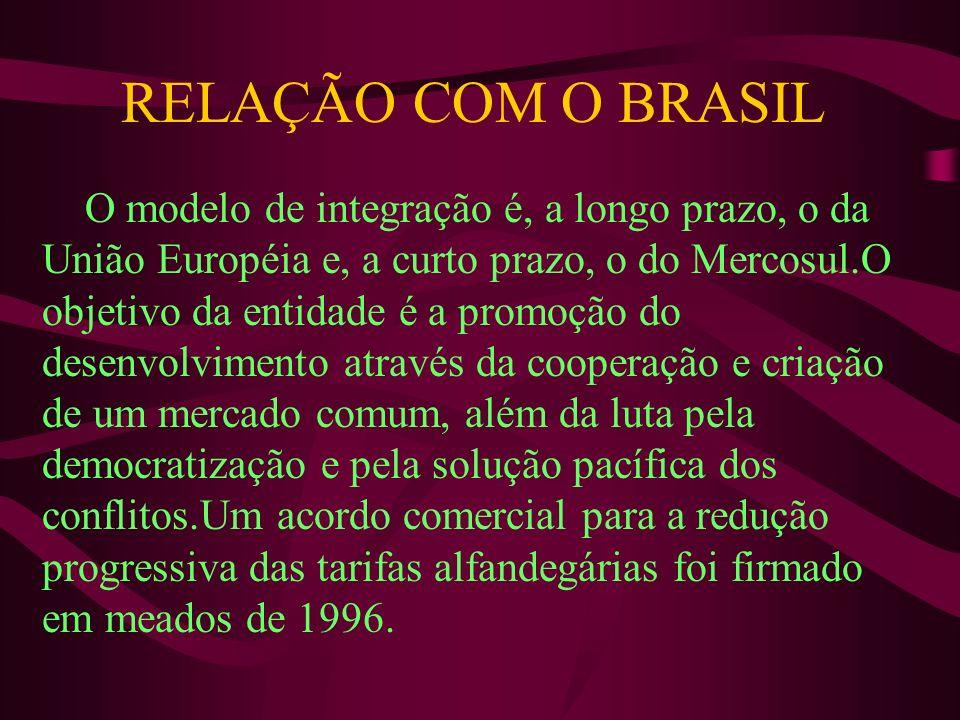 RELAÇÃO COM O BRASIL O modelo de integração é, a longo prazo, o da União Européia e, a curto prazo, o do Mercosul.O objetivo da entidade é a promoção