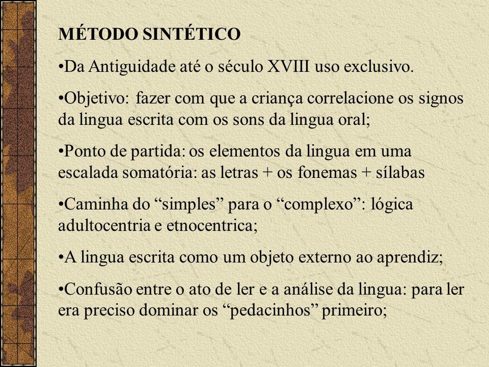 MÉTODO SINTÉTICO Da Antiguidade até o século XVIII uso exclusivo. Objetivo: fazer com que a criança correlacione os signos da lingua escrita com os so