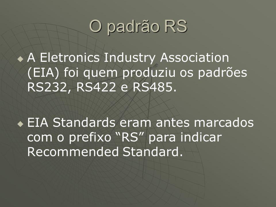 O padrão RS A Eletronics Industry Association (EIA) foi quem produziu os padrões RS232, RS422 e RS485.