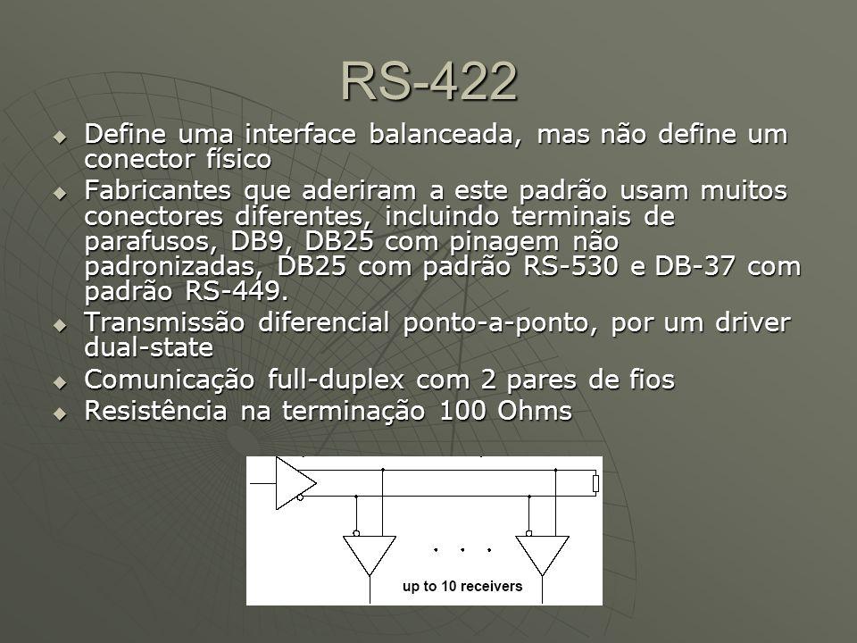RS-485 Terminação Resistor de 120 Ohms em paralelo com os nós da extremidade do barramento (RT na figura). Resistor de 120 Ohms em paralelo com os nós