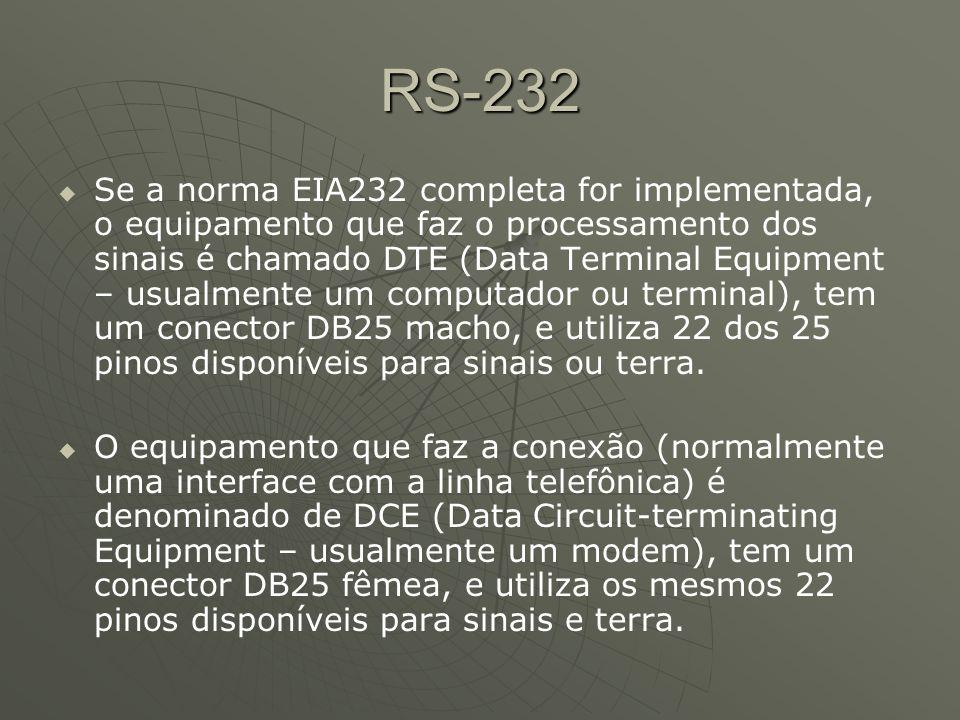 RS-232 Se a norma EIA232 completa for implementada, o equipamento que faz o processamento dos sinais é chamado DTE (Data Terminal Equipment – usualmente um computador ou terminal), tem um conector DB25 macho, e utiliza 22 dos 25 pinos disponíveis para sinais ou terra.