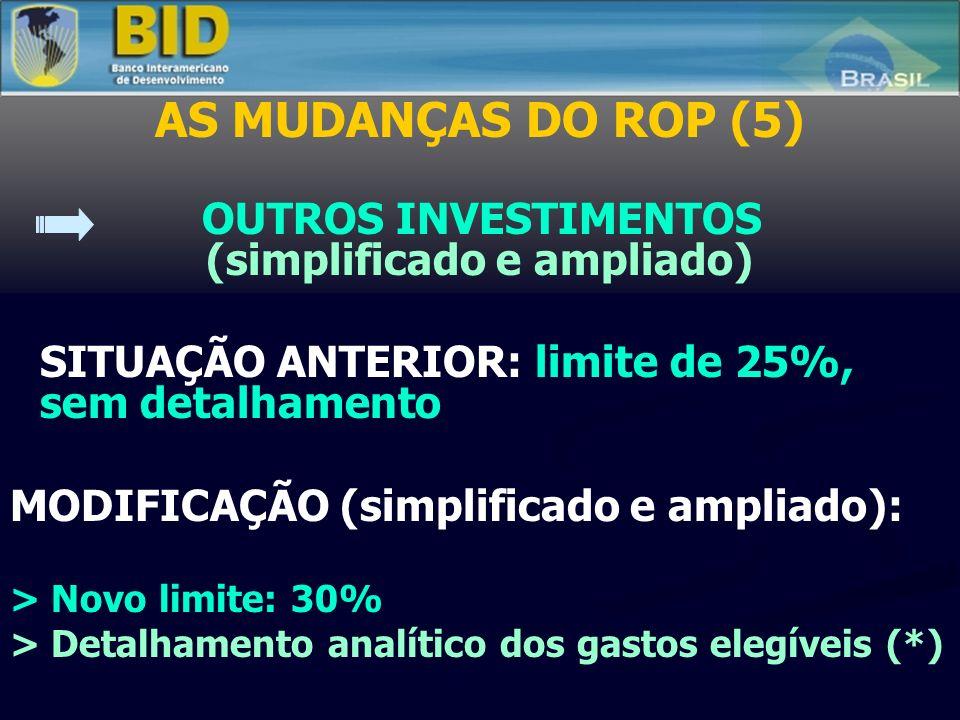 AS MUDANÇAS DO ROP (5) OUTROS INVESTIMENTOS (simplificado e ampliado) SITUAÇÃO ANTERIOR: limite de 25%, sem detalhamento MODIFICAÇÃO (simplificado e ampliado): > Novo limite: 30% > Detalhamento analítico dos gastos elegíveis (*)